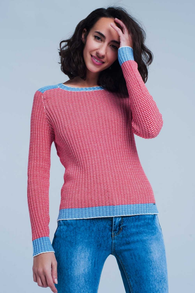 Rode Ribgebreide trui met blauwe rand