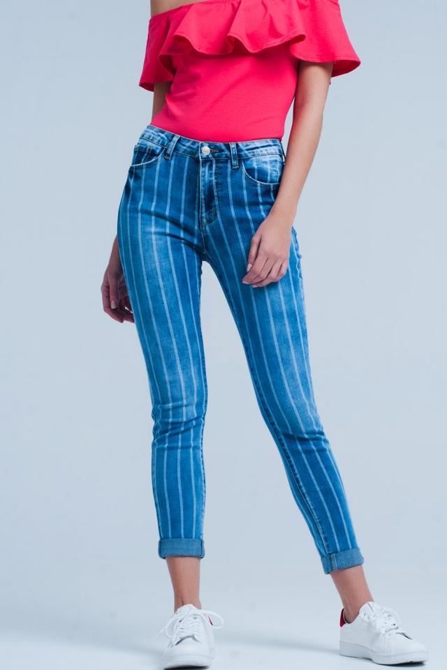 Skinny jeans met lichtgewassen strepen