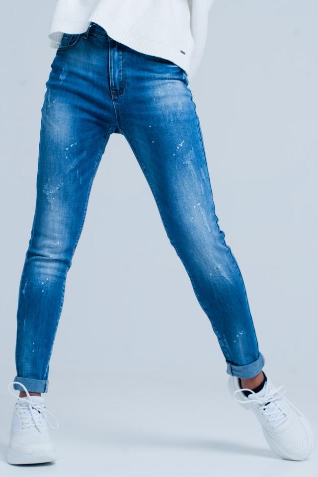Donkergewassen beschadigde skinny jeans