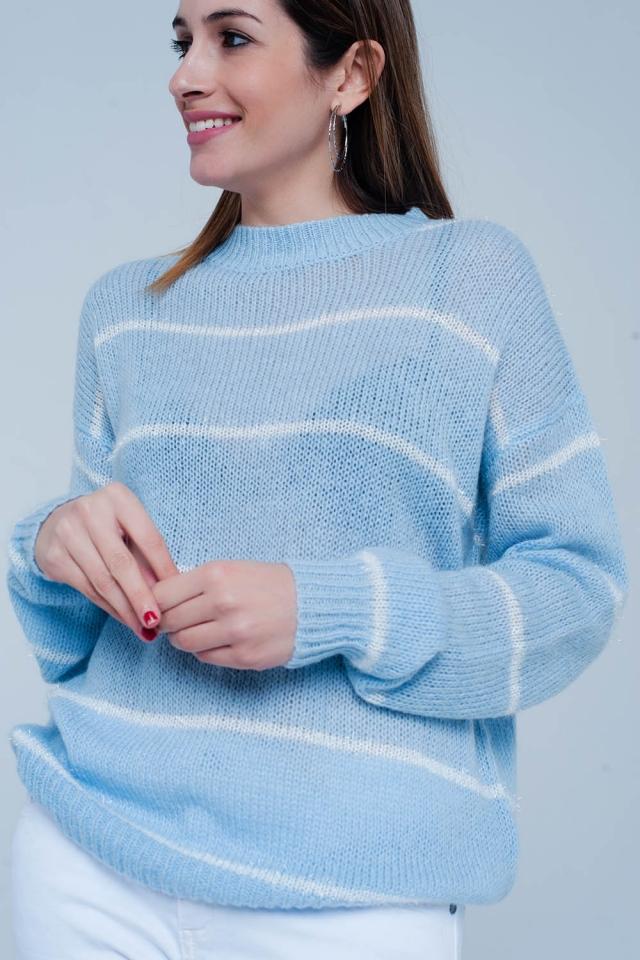 Blauwe Gestreepte Sweater met Hooggesloten Hals