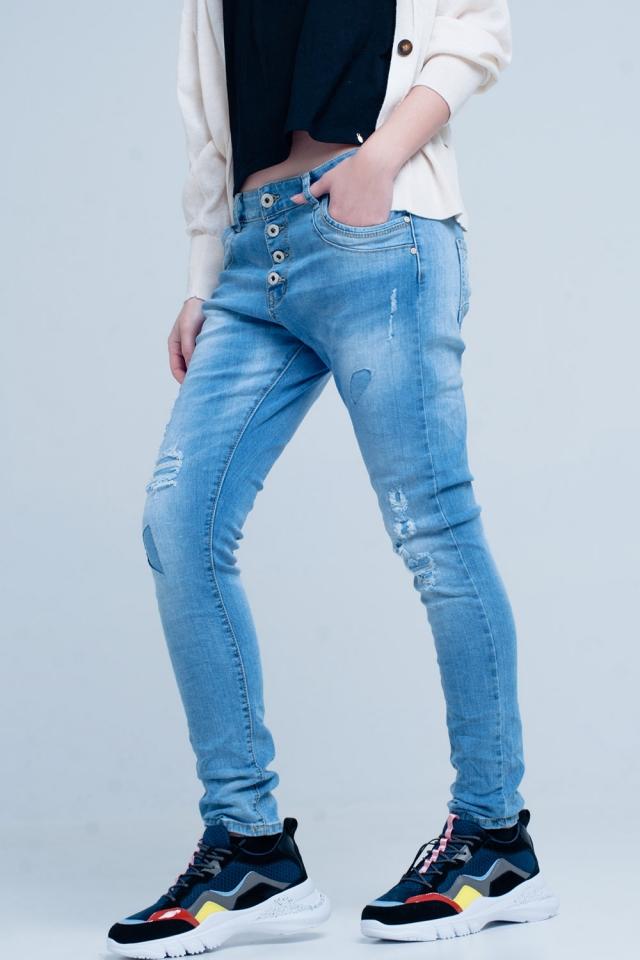 Blauwe Gescheurde Boyfriend Jeans
