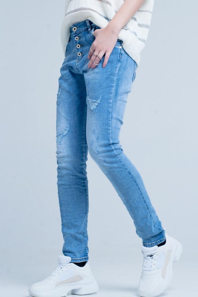 Beschadigde Boyfriend Jeans met Knopen