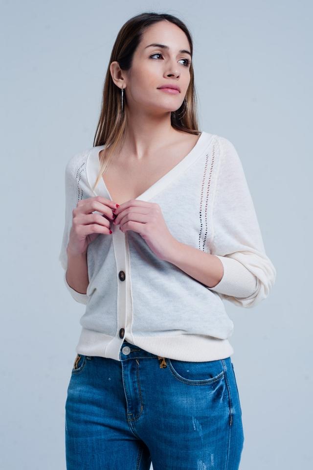 Crème kleur vest met knopen en edgy naad