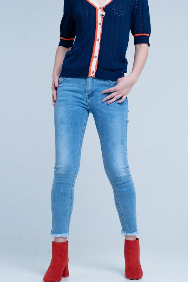 Blauwe Skinny Jeans met Franje Enkels