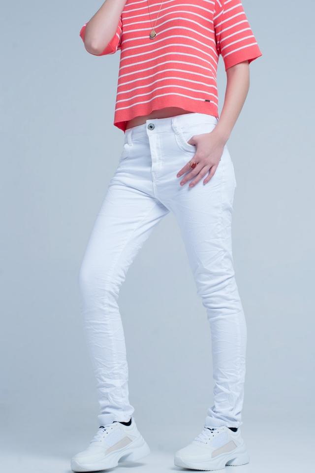 Witte Gekreukte Skinny Jeans