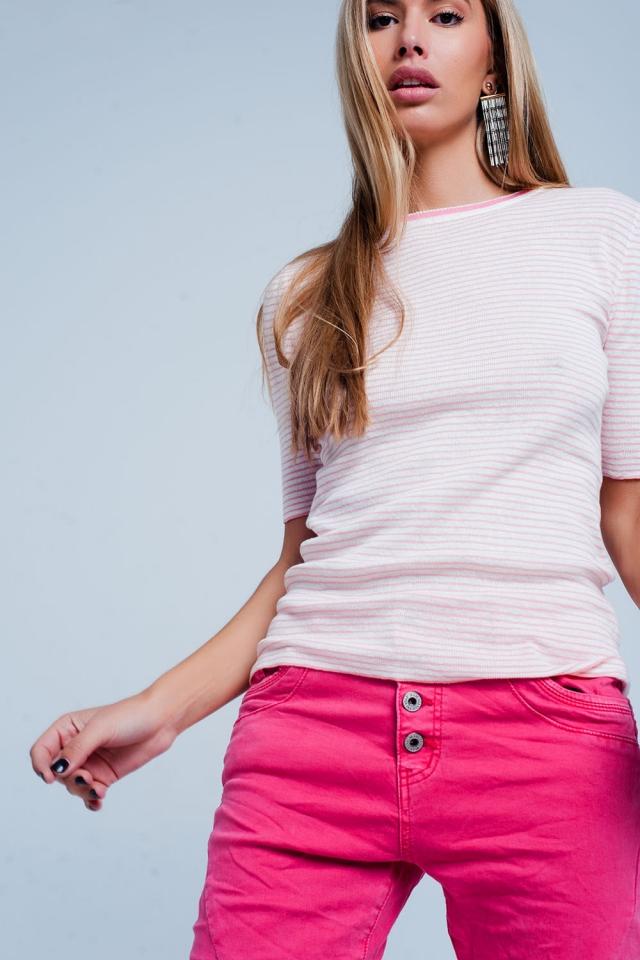 Roze Trui met cropped mouwen en Bretonse streep