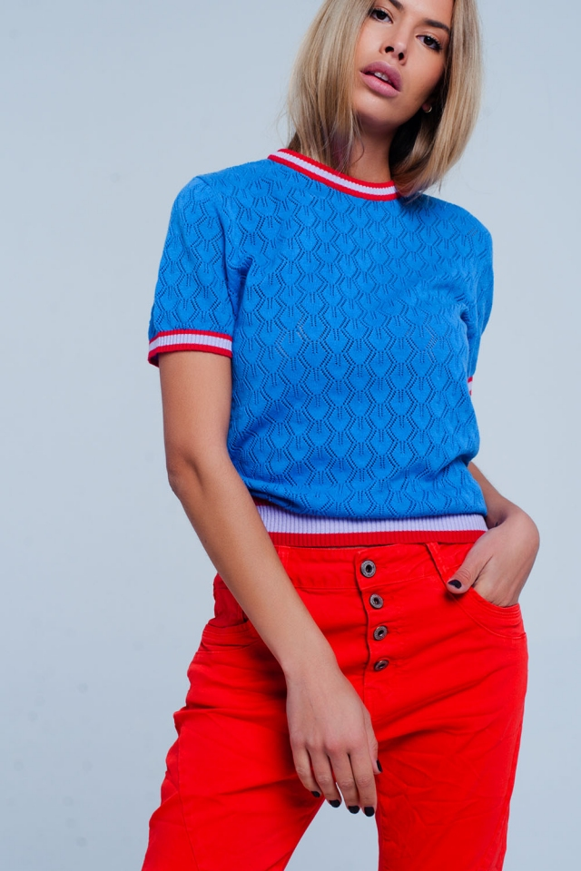 Open gebreide trui in Blauwe kleur met geometrisch patroon