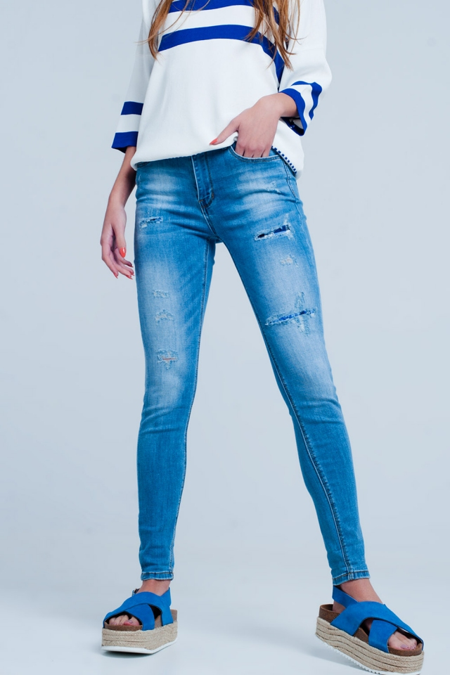 Slim-fit stretch jeans met scheuren in mid blue