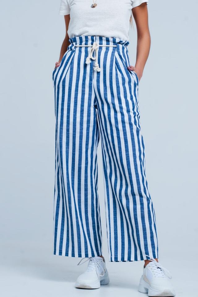 Stoere smaltoelopende gestreepte Blauw broek met touwriem