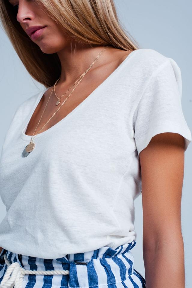 Wit T-shirt met wijde hals