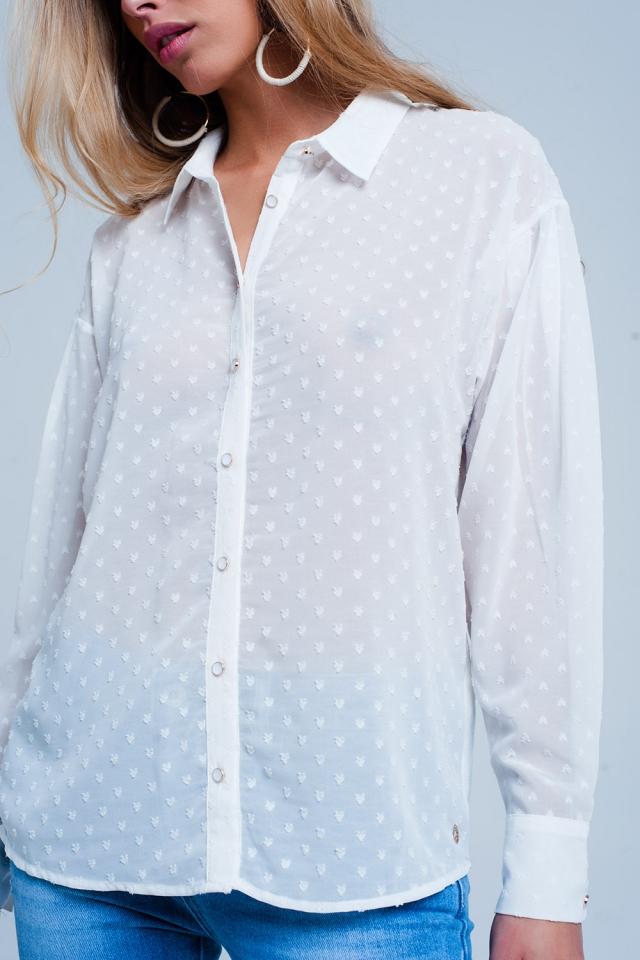 Wit Ruimvallend doorschijnend overhemd met stippen