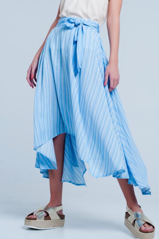 Blauw Gestreepte midirok met strikdetail