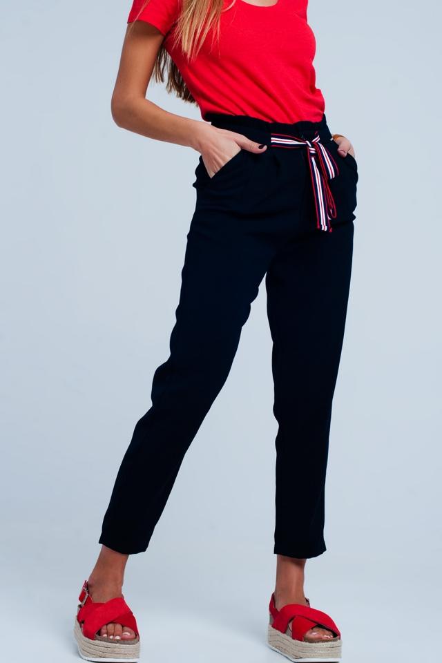 Broek met aangerimpelde taille en strik aan de voorkant Blauw