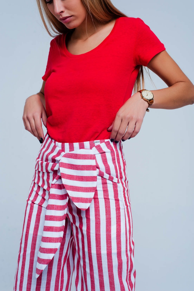 Rood Broek met gestrikte taille en strepen