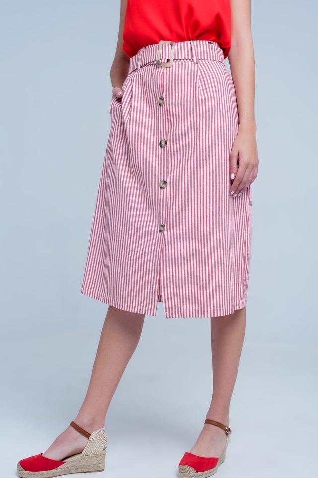 Rood Stripe midi rok met knoppen