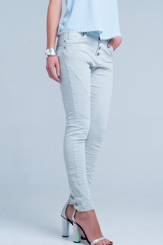 Grijs Boyfriend jeans met lage taille