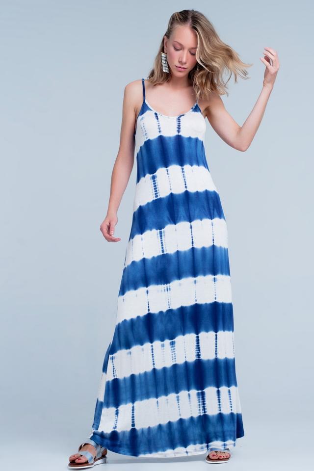 Gestreepte maxi jurk in blauw