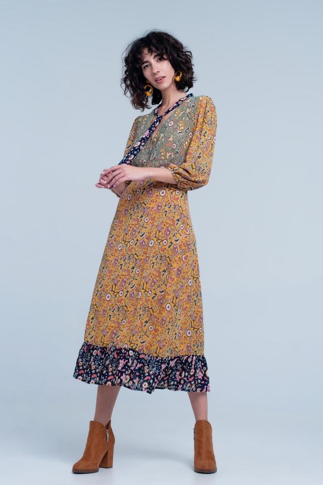 Bloemenprint maxi jurk in mosterd