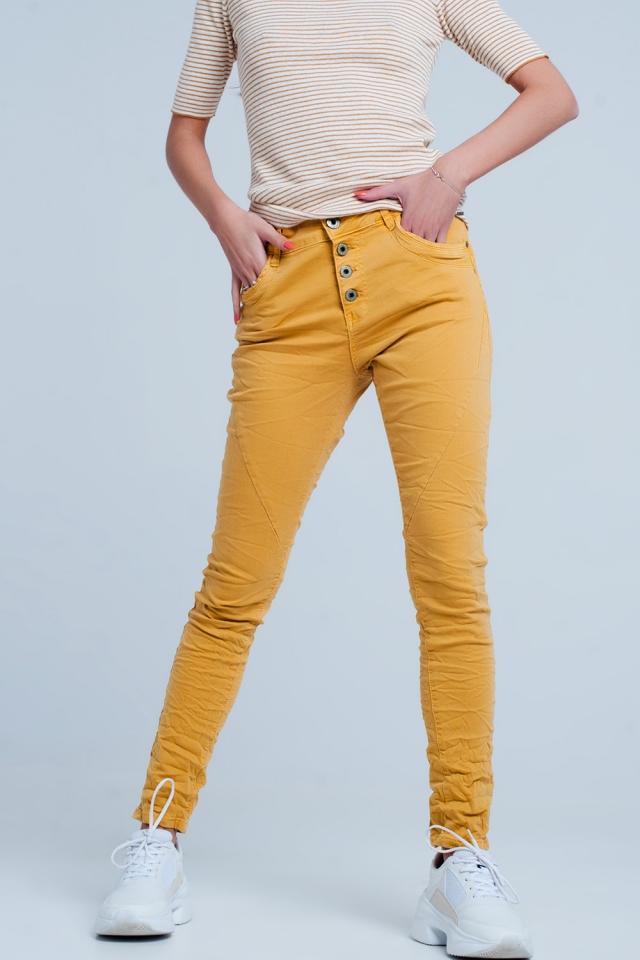 Mosterdgele boyfriend jeans met lage taille