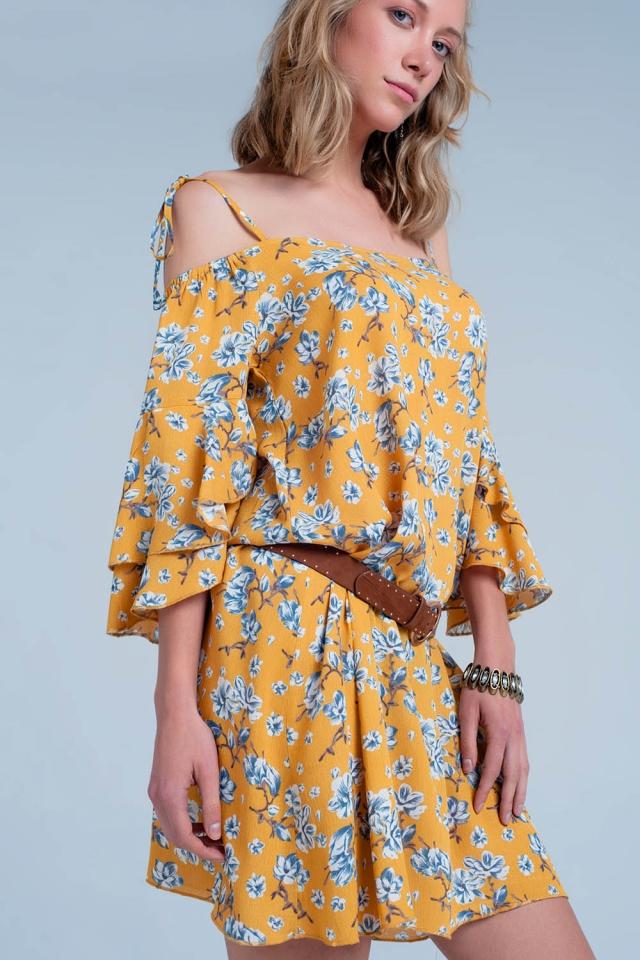 Gele mini jurk met bloemenprint
