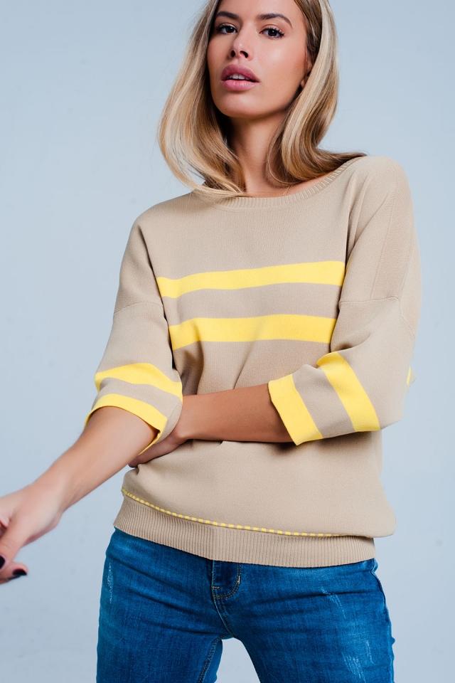Beige sweater met gele strepen