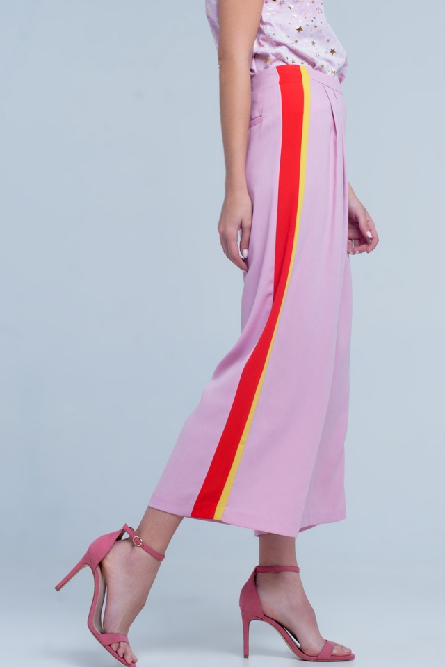 Roze broek met strepen