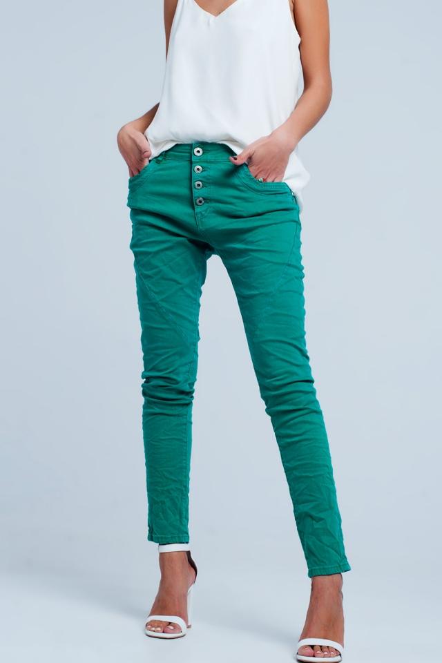 Originele boyfriend jeans in groen