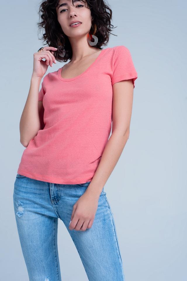 Koraal t-shirt met een ronde hals