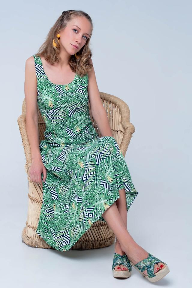 Groene jurk met planten print
