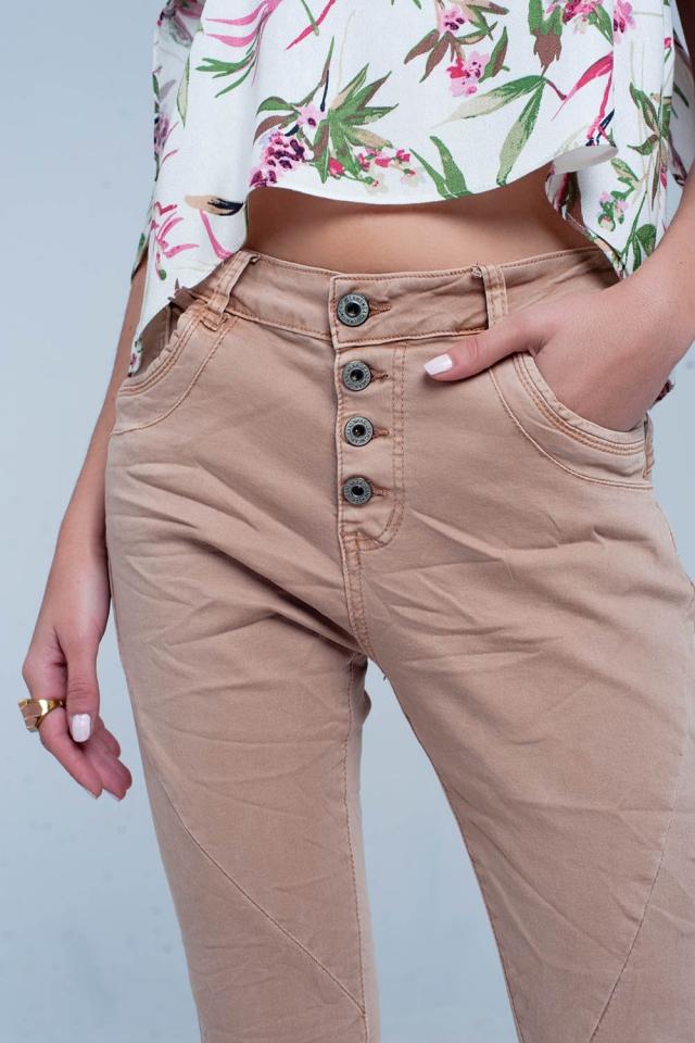Bruin gekreukelde jeans