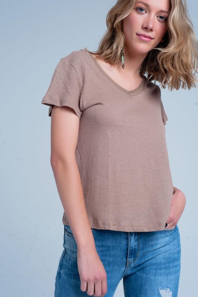 Bruin t-shirt met v hals