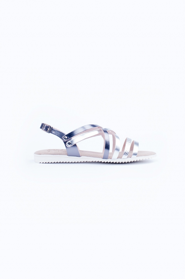 Zilveren platte strappy sandalen