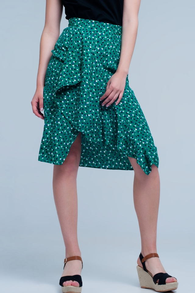 Groene rok met bloemenprint