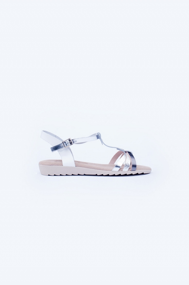 Zilveren dikke platte sandalen