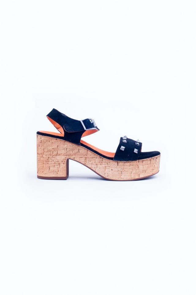 Sandalen met dikke hak