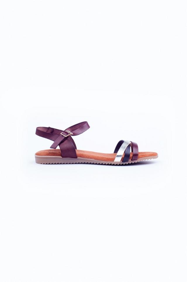 Bruine platte sandalen