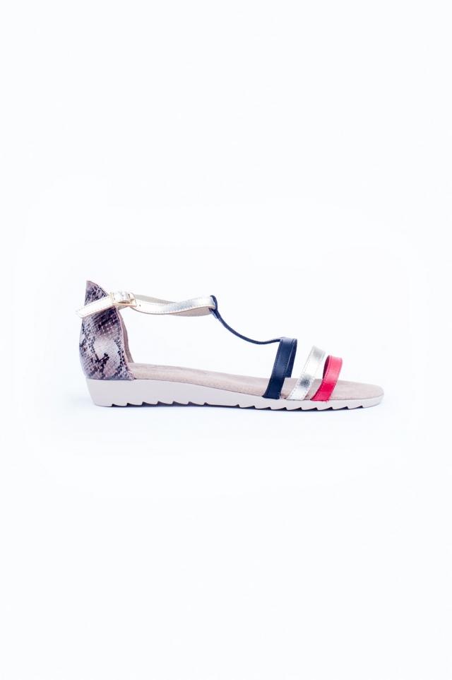 Slangenprint platte sandalen