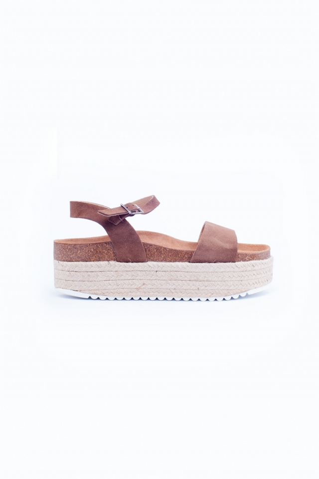 Espadrille sandalen in bruin