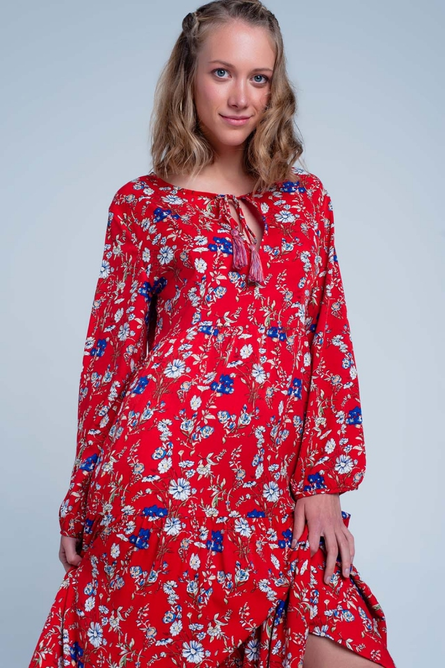 Red dress with floral print