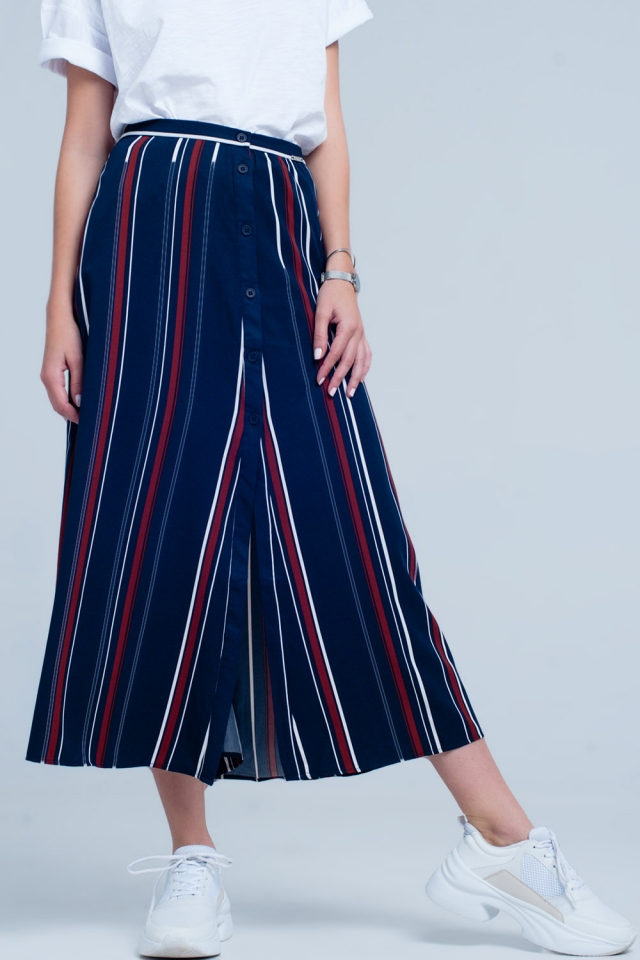 Navy blue striped midi skirt