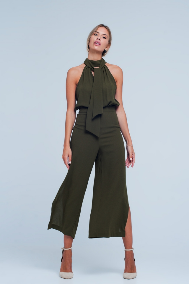 Khaki Jumpsuit with Back Bow
