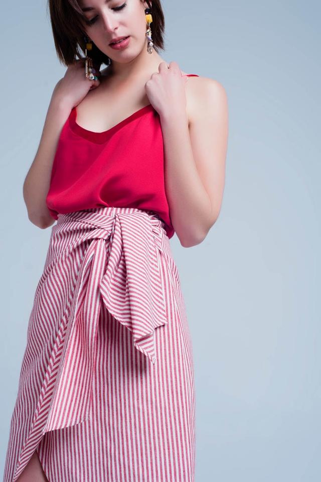Gestreepte rok met strik in rood