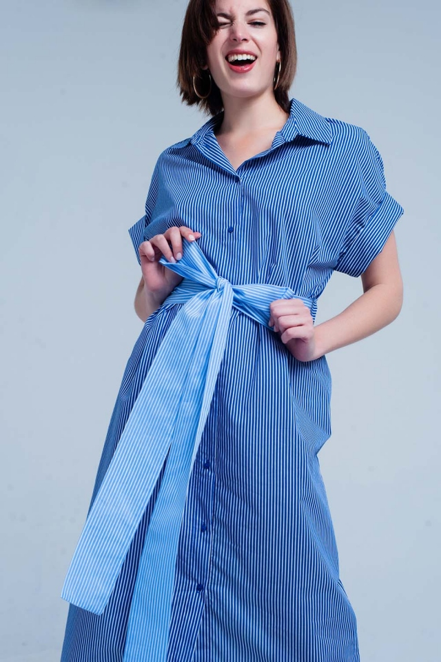 Blue dress with buttons and stripes