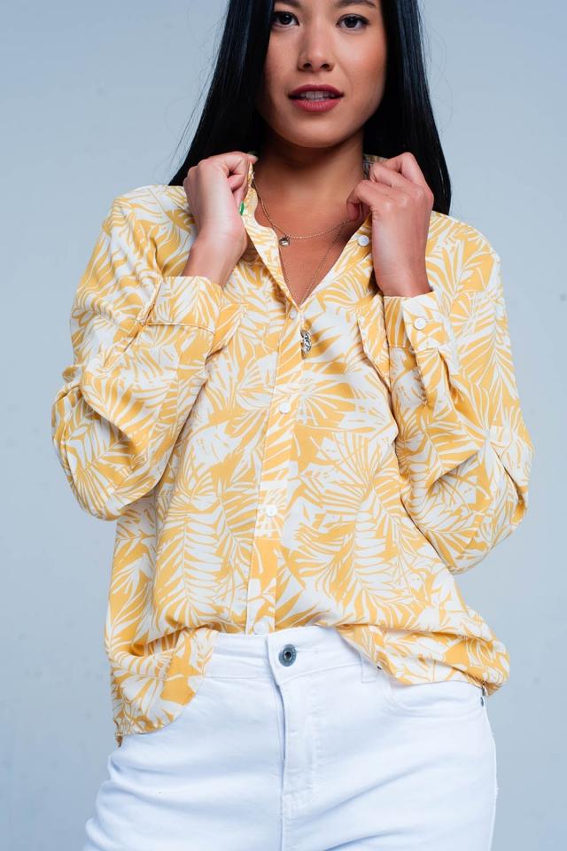 Witte blouse met mosterd bloemenprint