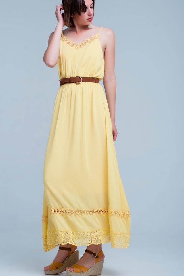 Yellow dress with crochet trim