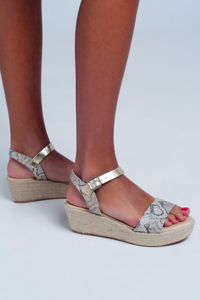 Espadrille sandalen met slangenprint