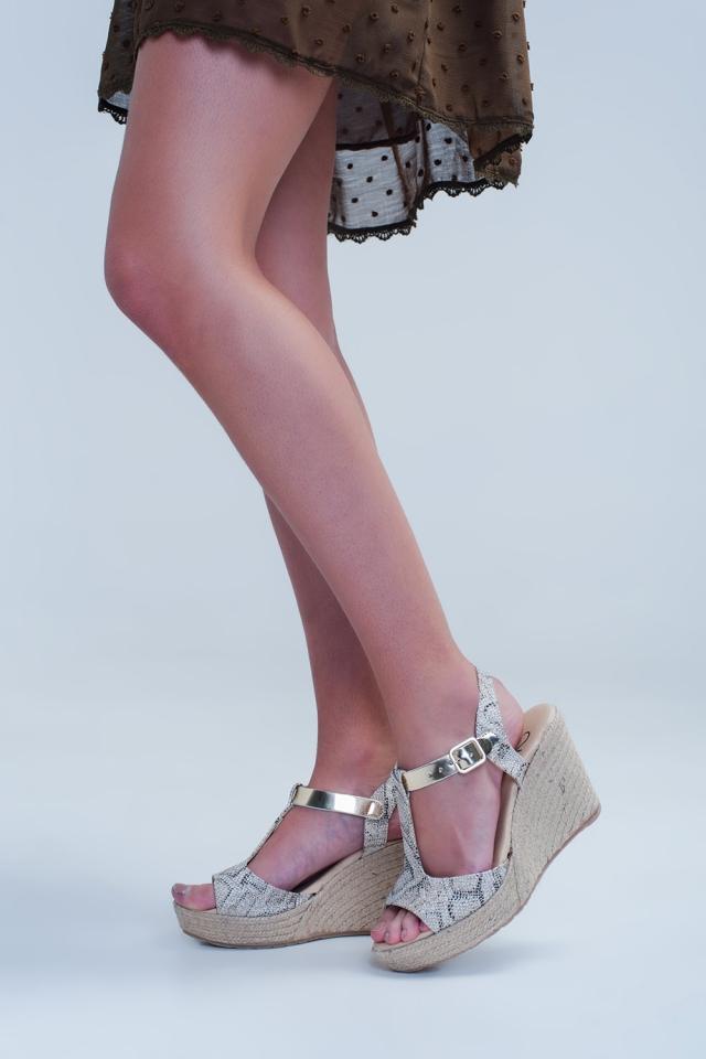 Zwarte espadrille sandalen met luipaard beige