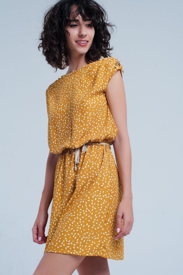 Mostaza gekleurde medi jurk