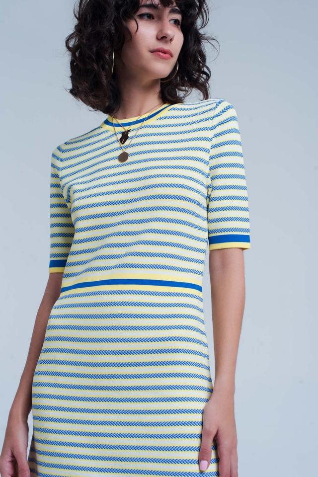 Gele gestreepte jurk