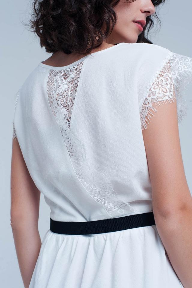 Midi witte jurk met kant